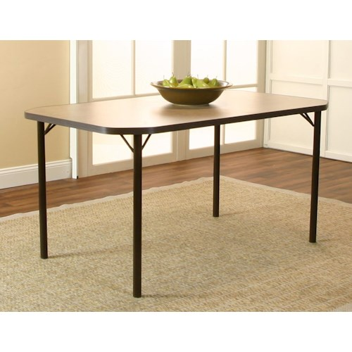 Cramco, Inc Jacey Rectangular Clipped Corner Beige Linen Laminate Table