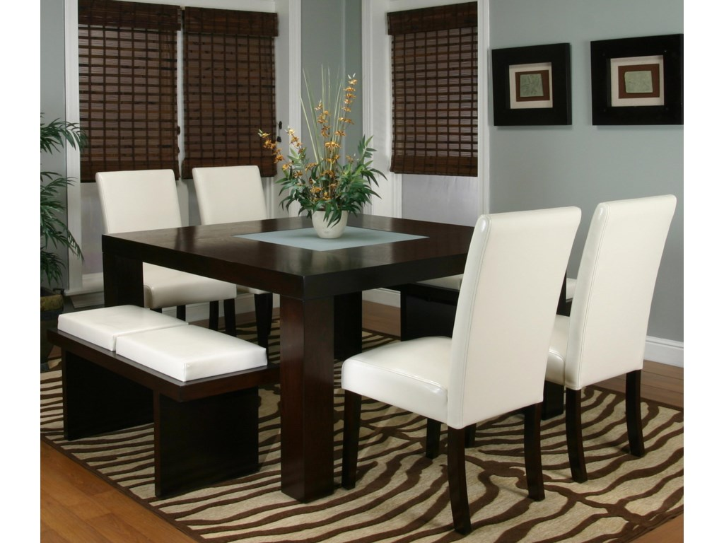 Shown with Square Dining Table and Two Cushion Bench