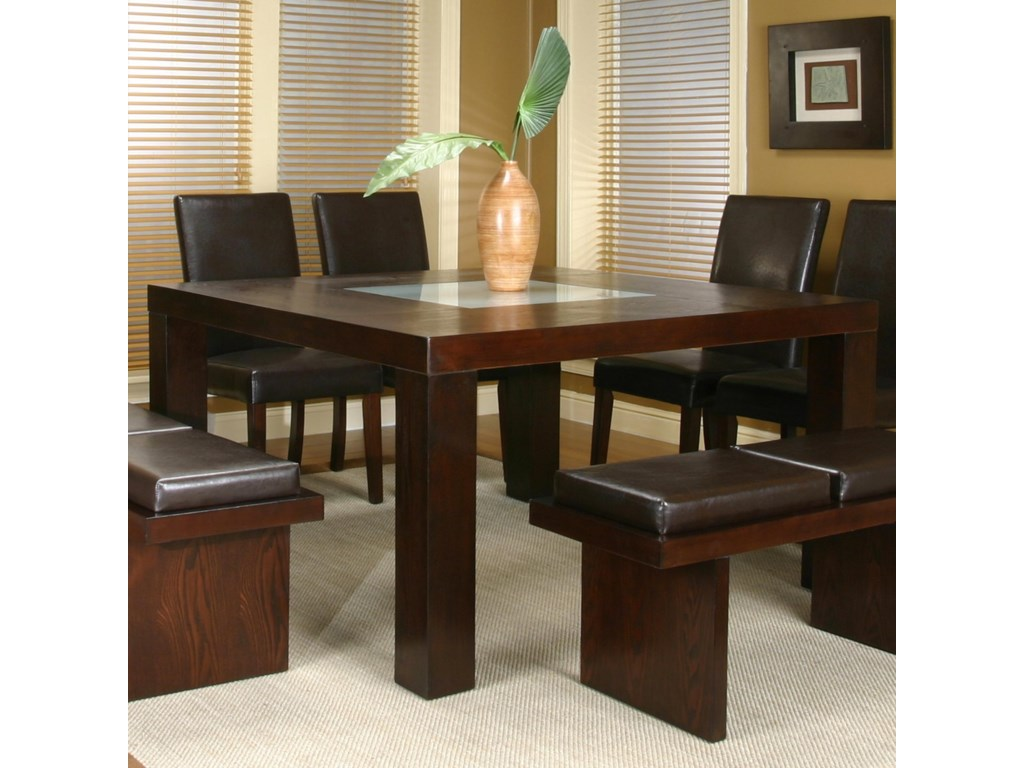 Contemporary Design - Kemper Square Dining Table with Frosted Glass Insert  by Cramco, Inc