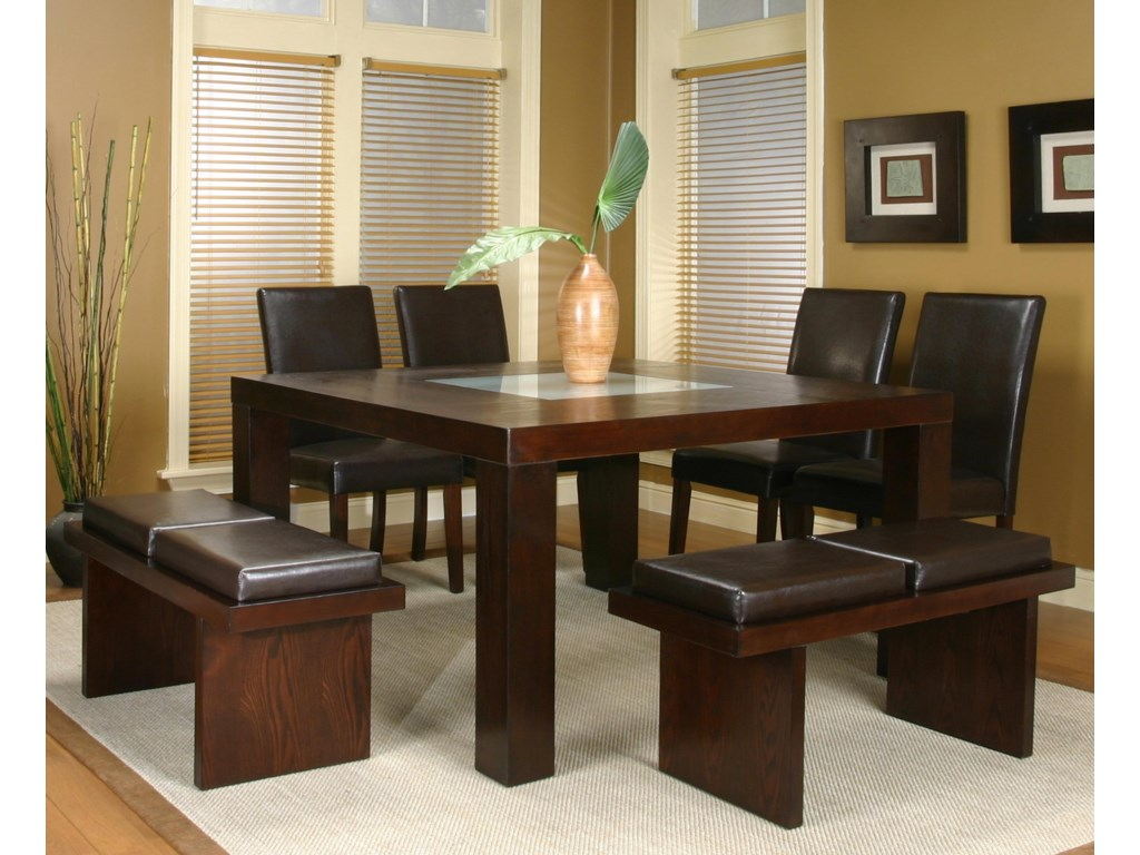 Shown with Cordovan Benches and Sides Chairs