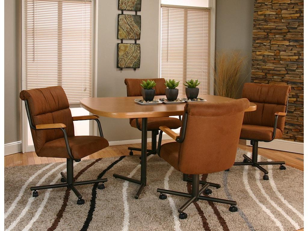 Cramco, Inc Landon5 Piece Octagon Rustic Oak/Espresso Table