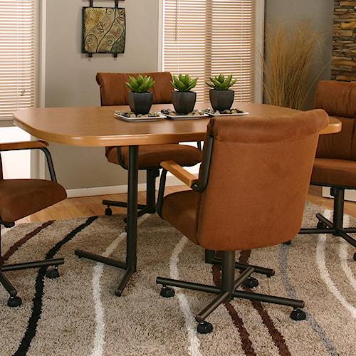 Cramco inc landon bow end sunset oak laminate table top and espresso base value city - Laminate kitchen tables ...
