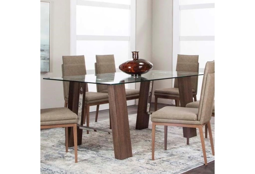 Cramco Inc Leone G5421 47 45 41 Rectangular Glass Top Dining Table Corner Furniture Dining Tables