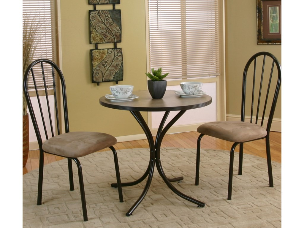 Cramco, Inc Linen3 Piece Round Beige Table with Side Chairs