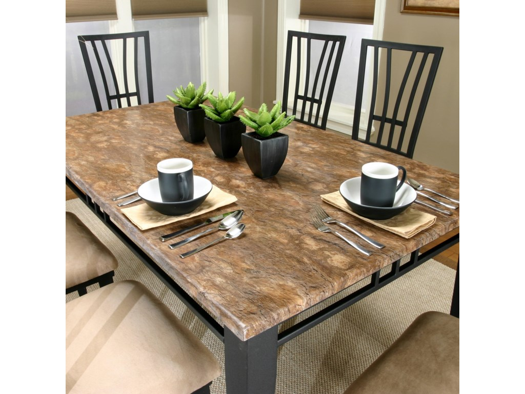 Rectangular Faux Brown Marble Top Table