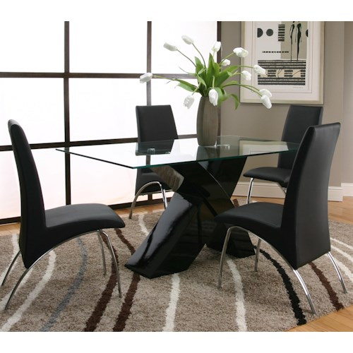 Cramco, Inc Mensa 5 Piece Rectangular Glass Top Table with Black Base and Black Chairs