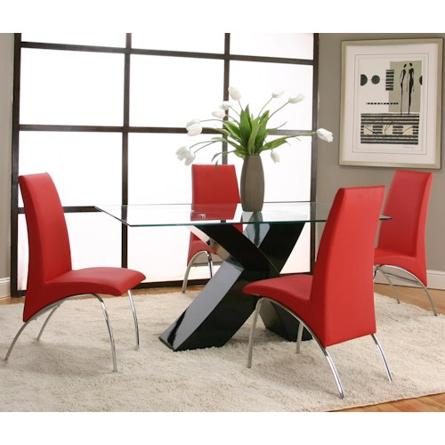 Cramco, Inc Mensa 5 Piece Rectangular Glass Top Table with Black Base and Red Chairs