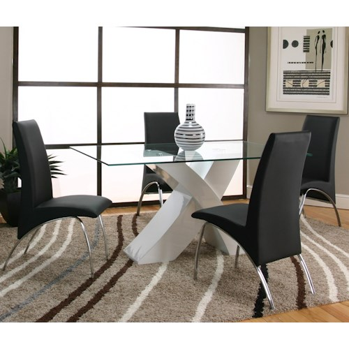 Cramco, Inc Mensa 5 Piece Rectangular Glass Top Table with White Base and Black Chairs