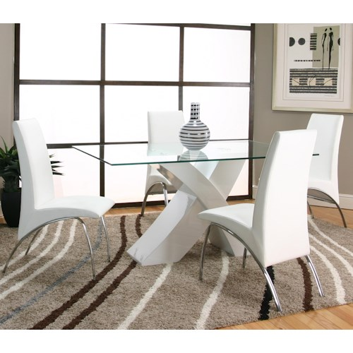 Cramco, Inc Mensa 5 Piece Rectangular Glass Top Table with White Base and White Chairs