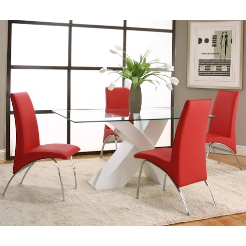Cramco, Inc Mensa 5 Piece Rectangular Glass Top Table with White Base and Red Chairs
