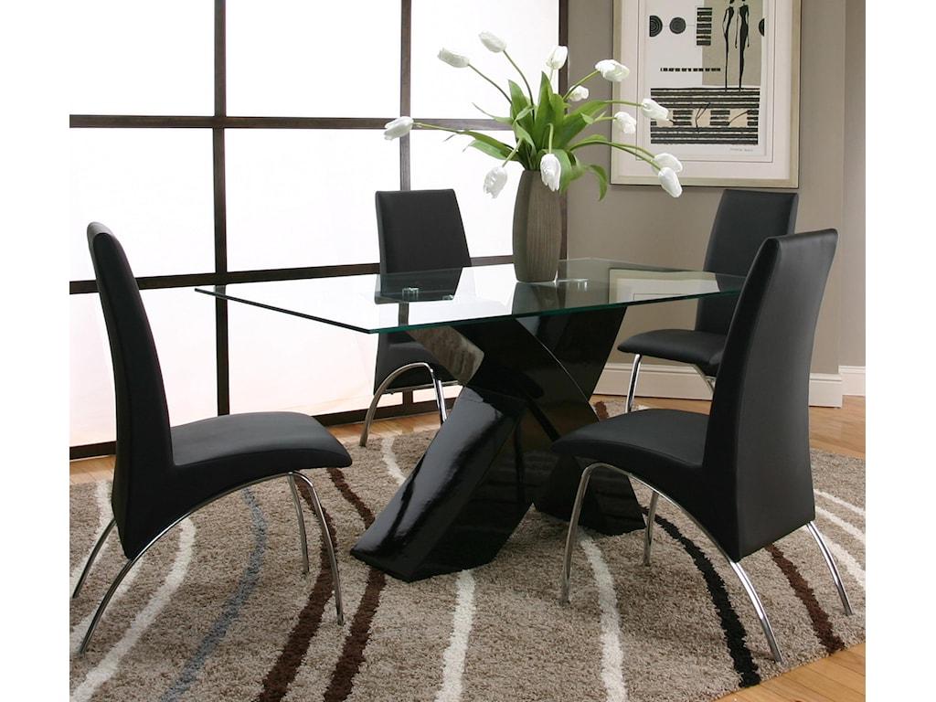 Cramco, Inc MensaRectangular Glass Table Top with Black Base