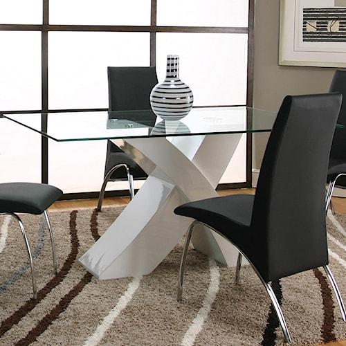 Cramco, Inc Mensa Rectangular Tempered Glass Table Top with Polyester/Polyurethane White Base