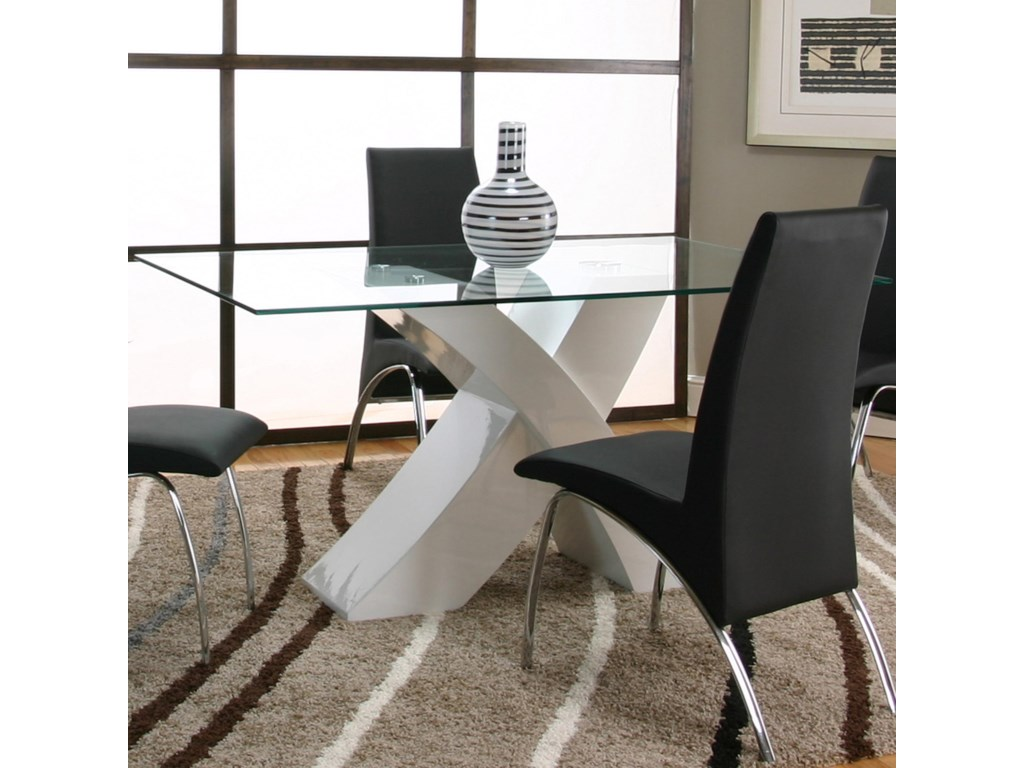 Cramco Inc Mensa Rectangular Tempered Gl Table Top With Polyester Polyurethane White Base