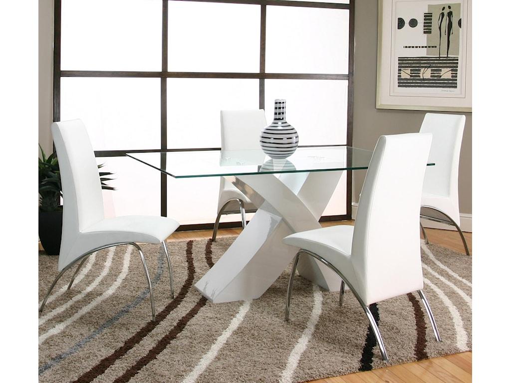 Cramco, Inc MensaRectangular Glass Table Top with White Base