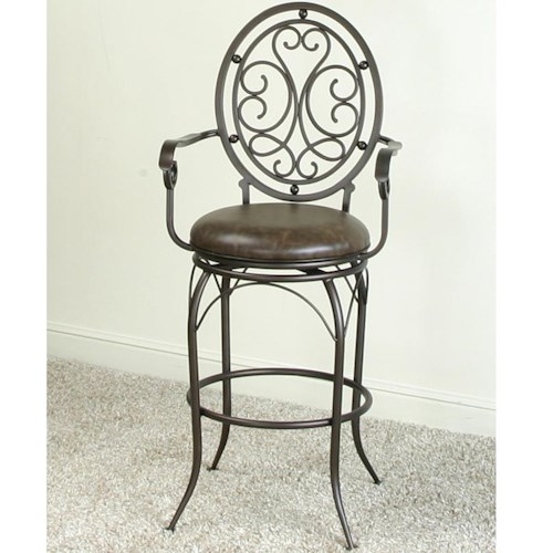 Cramco, Inc Monza Swivel Bar Stool with Elegant Designed Back