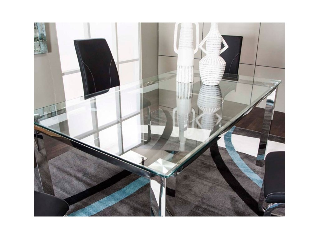 Skyline glass top dining table with chrome base by cramco inc