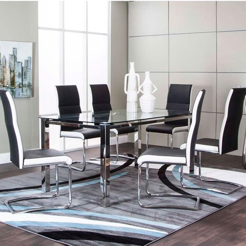 Delicieux Skyline Glass Top Table And Upholstered Side Chair Set By Cramco, Inc
