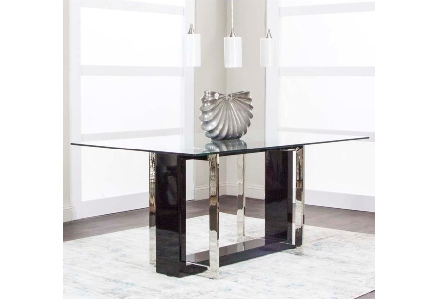 Cramco Inc Olympia Contemporary Glass Top Dining Table Value City Furniture Dining Tables