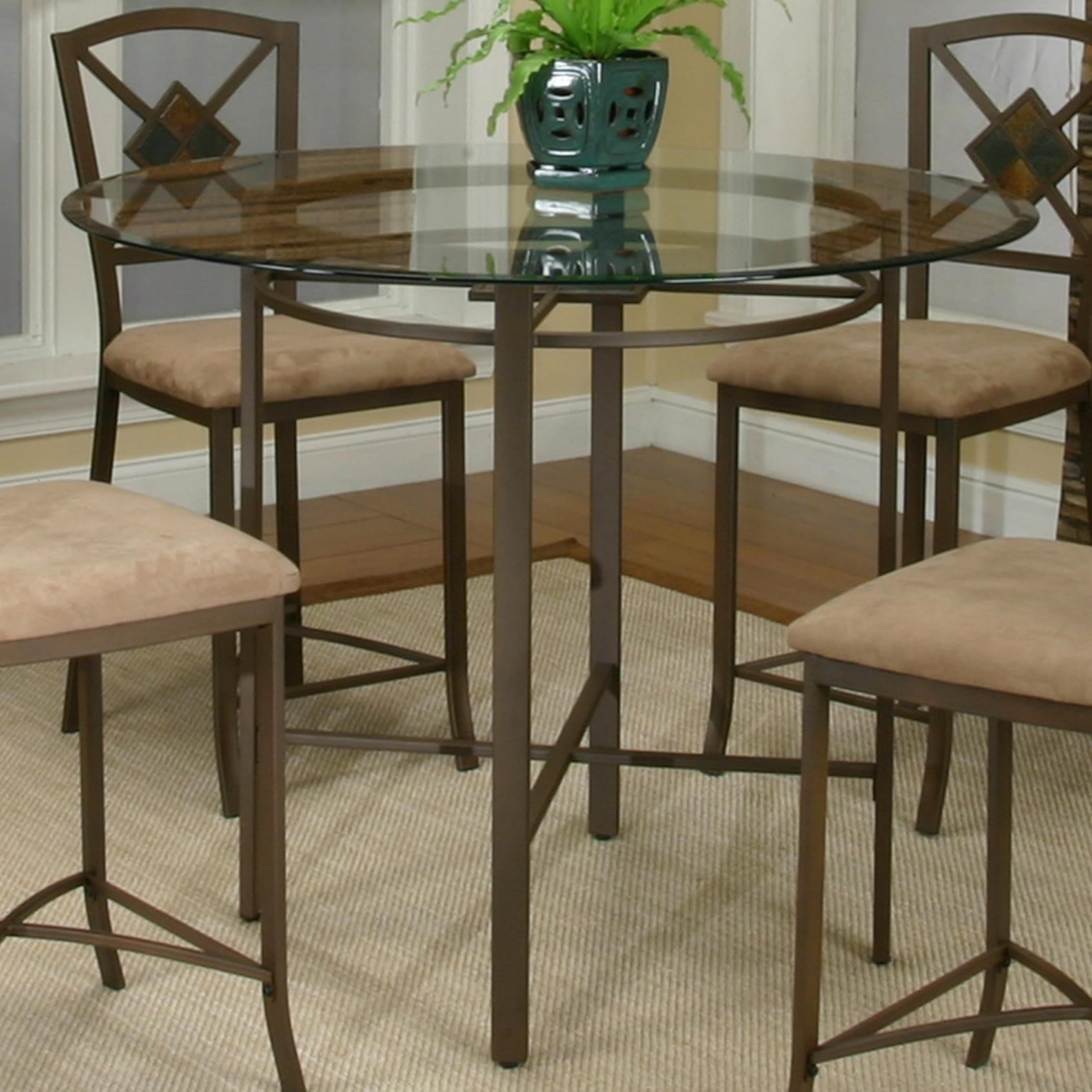 Cramco, Inc Cramco Trading Company   Piazza Metal Pub Table W/ Glass Top