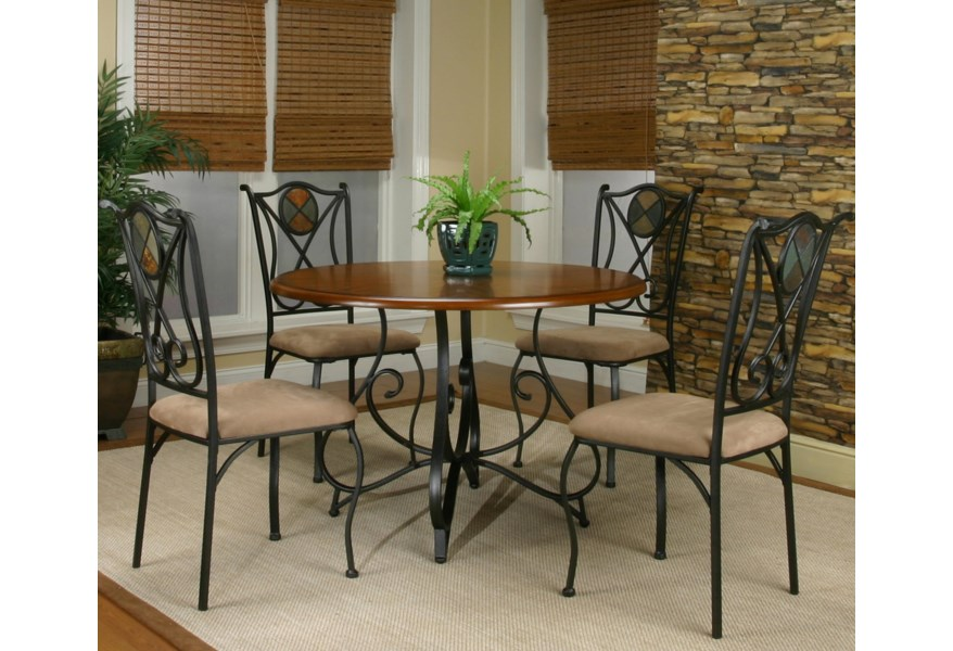 Cramco Inc Cramco Trading Company Ravine Round Table W 4 Side Chairs Value City Furniture Dining 5 Piece Set