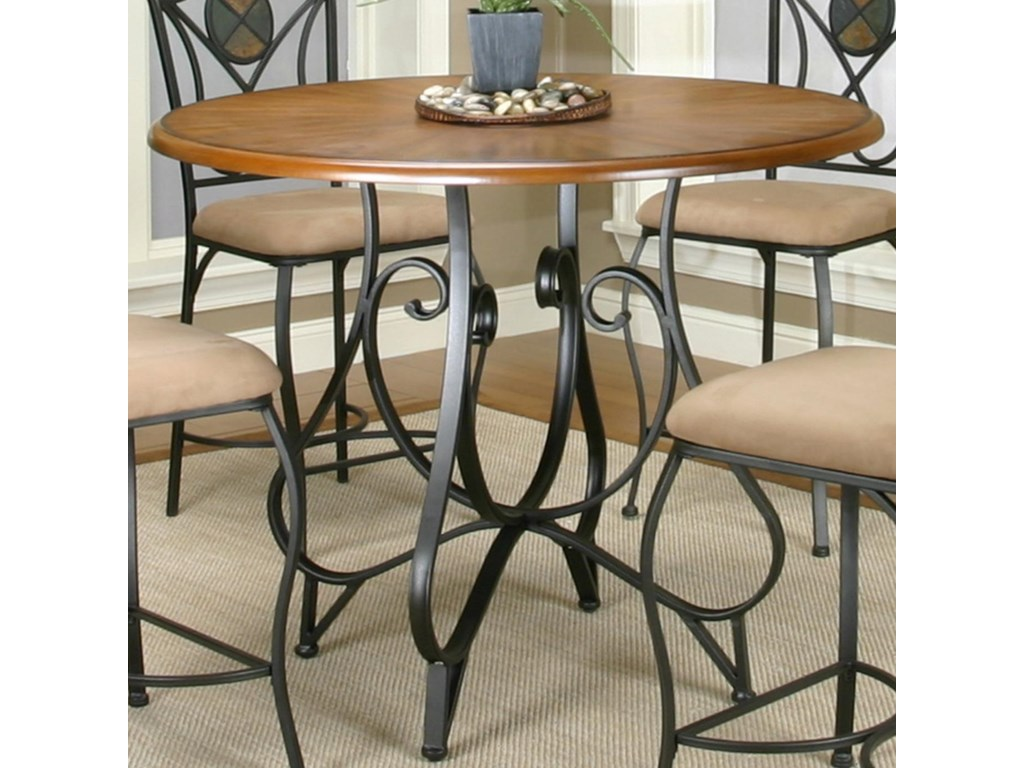 Cramco Inc Ravine Round Pub Table W Oal Wood Top Royal Furniture Pub Table