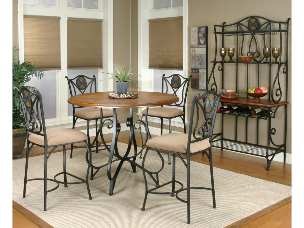 Counter Height Table Shown in Room Setting with Counter Stools and Baker's Rack