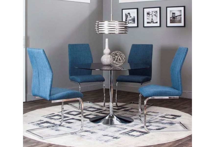 Cramco Inc Rocket Nd612 545 5 Piece Dining Set With Smoked Glass Top And Chrome Finish Base Lapeer Furniture Mattress Center Dining 5 Piece Sets
