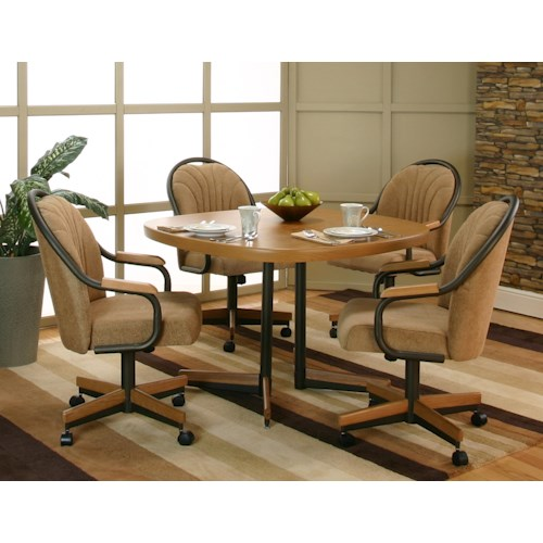 Cramco Inc Shaw Casual Sunset Oak Finished Dining Table With 4 Chenille Upholstered Tilt