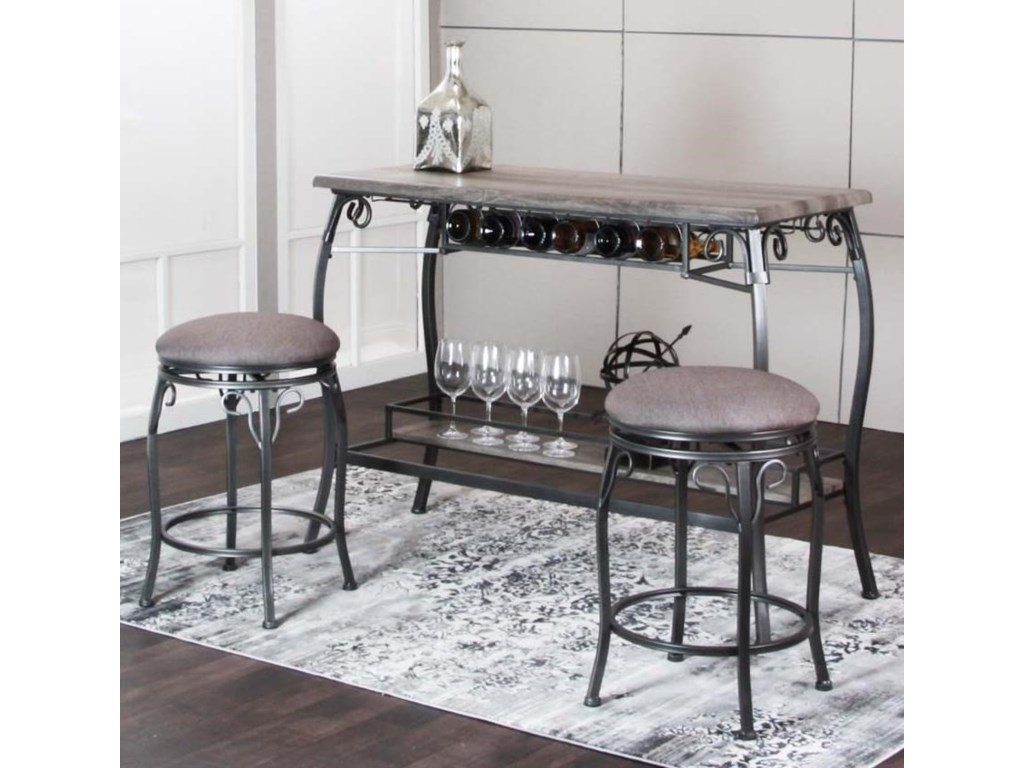 Cramco Inc Sprite 3 Piece Counter Height Bar Table And Stool Set