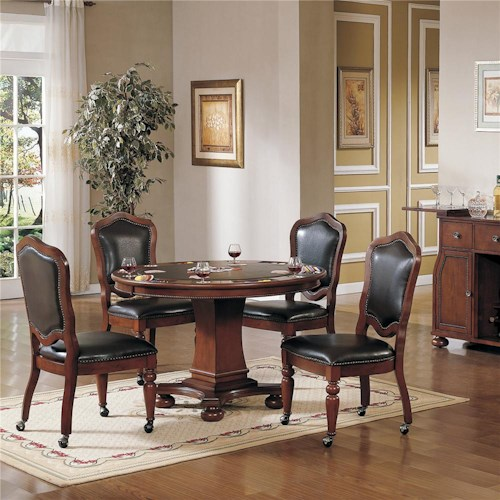 Cramco Inc Timber Lane Faran Round Game Table And Caster Chair Set Value City Furniture