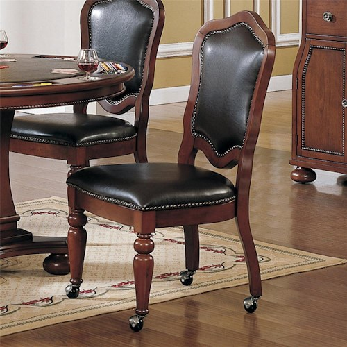 Dining Room Chairs With Wheels: Faran Brown Cherry Finish