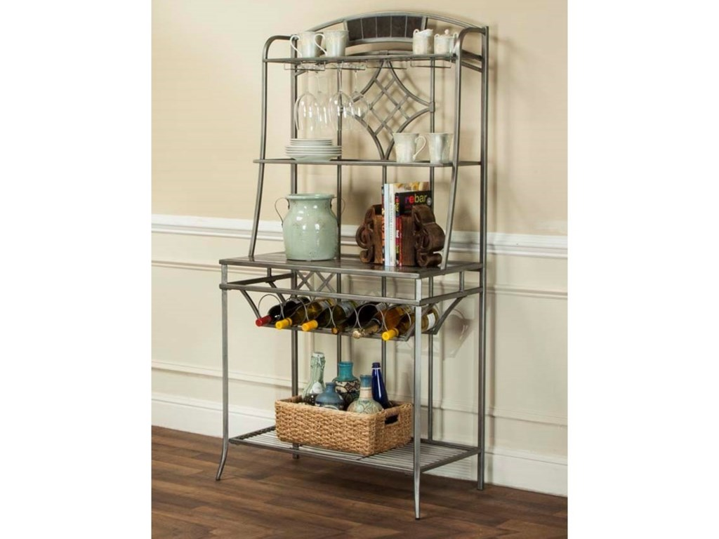 Triumph Pewter And Marble Baker S Rack With Wine Storage Open Shelves By Cramco Inc At Value City Furniture