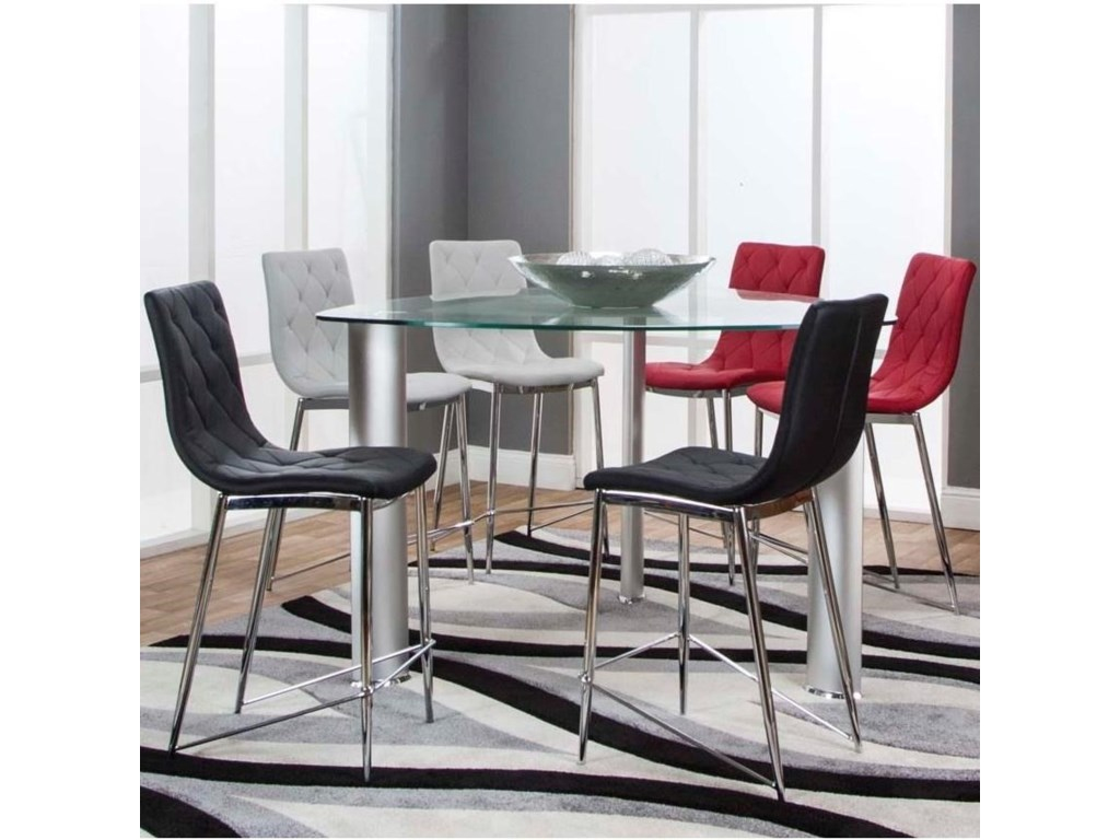 Cramco Inc Turbo 54 Triangle Gl Top Counter Height Dining Table And Stool Set