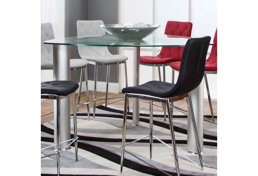 Cramco Inc Turbo G5735 49 43 54 Triangle Glass Top Counter Height Dining Table Corner Furniture Pub Tables