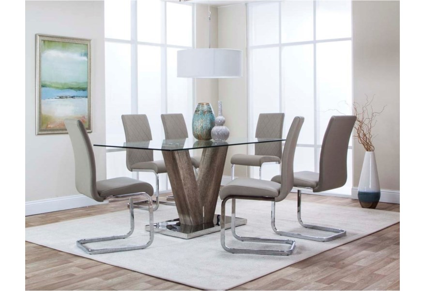 Cramco Inc Veneto 63 Glass Top Dining Table And 6 Chrome Upholstered Chairs Set Value City Furniture Dining 7 Or More Piece Sets