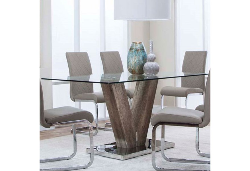 Cramco Inc Veneto 63 Glass Top Dining Table With V Base Value City Furniture Dining Tables