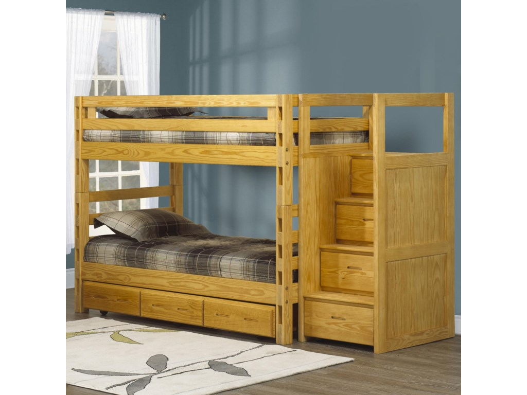 Crate Designs Crate Designs Bedroom Twin Twin Bunkbed W Ladder