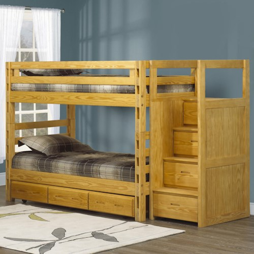 Crate Designs Crate Designs - Bedroom Twin/Twin Bunkbed w/ Ladder Staircase