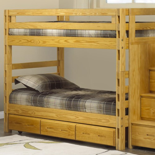 Crate Designs Crate Designs - Bedroom Twin/Twin Bunkbed w/ Storage Trundle