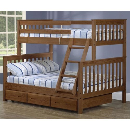 Crate Designs Crate Designs - Bedroom Twin/Double Bunk Bed w/ Storage Trundle & Ladder