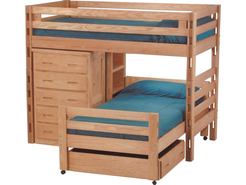 Crate Designs Pine Bedroom Casual Twin Bed Set With Loft Bed Caster