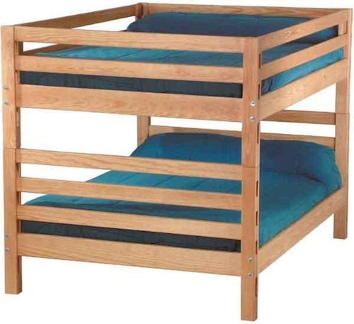Crate Designs Pine Bedroom Casual Queen Over Queen Bunk Bed