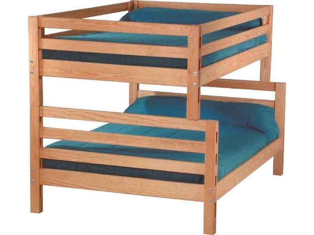 Crate Designs Pine Bedroom Casual Double Over Queen Bunk Bed