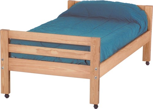 Crate Designs Pine Bedroom Casual Twin Bed with Casters