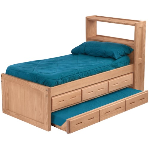 Crate Designs Pine Bedroom Twin Captian's Bed with Headboard Bookcase and Under Bed Storage and Trundle