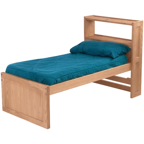 Crate Designs Pine Bedroom Twin Captain's Bed with Bookcase Headboard