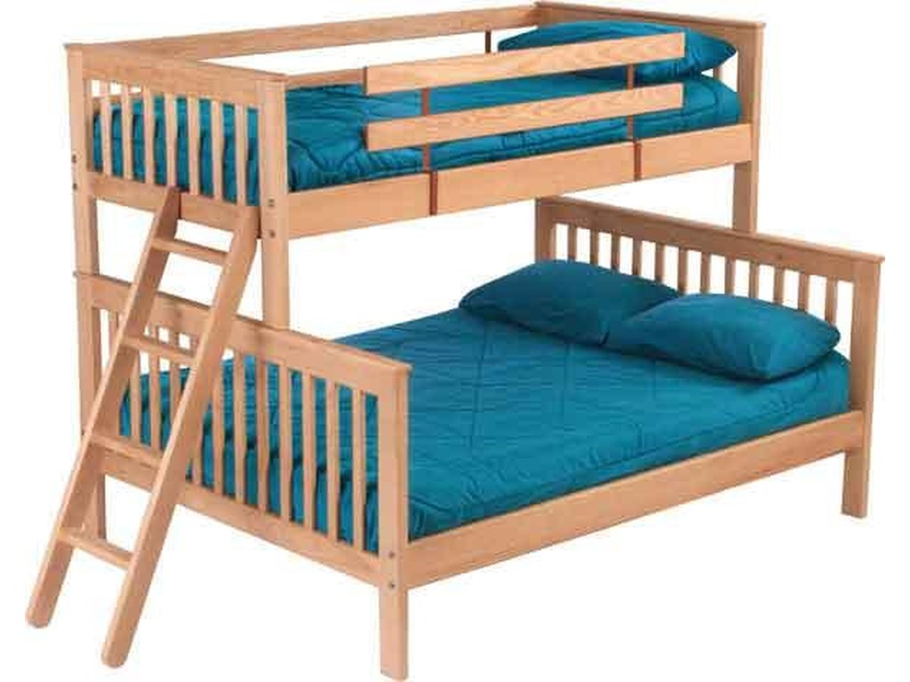 Crate Designs Pine Bedroom Mission Style Twin Over Queen Bunk Bed