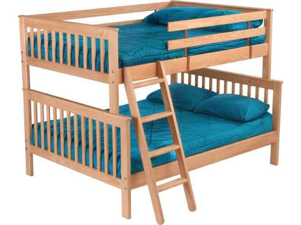 Crate Designs Pine Bedroom Mission Style Double Over Queen Bunk Bed