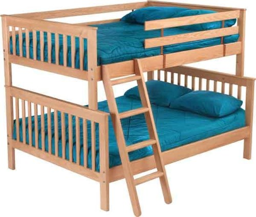 Crate Designs Pine Bedroom Mission-Style Double Over Queen Bunk Bed