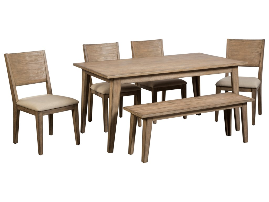 Cresent Fine Furniture Anders 6 Piece Table and Chair Set with Bench